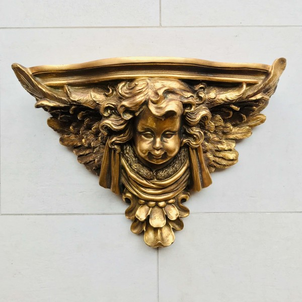 Декоративна конзола за стена - Ангелско лице (златна)