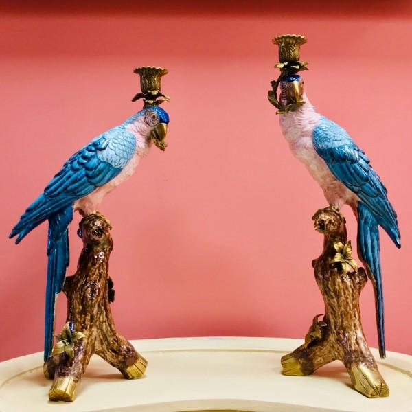 Чифт свещници - Папагали
